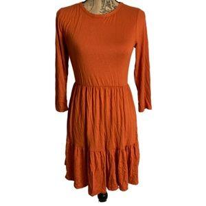 New Forever Rose orange long sleeve stretchy dress